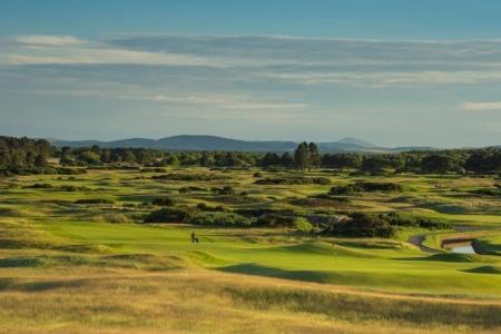 Fairways auf dem Carnoustie Golfplatz in der Nähe von St Andrews, Schottland