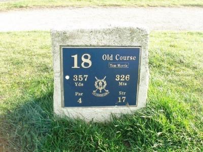 Das 18. Loch von dem Old Course Golfplatz in St Andrews, Schottland,