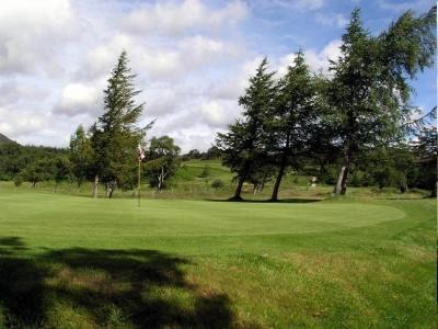 Golfgrün mit Bäumen auf dem Kingussie Golfkurs in den Highlands, Schottland