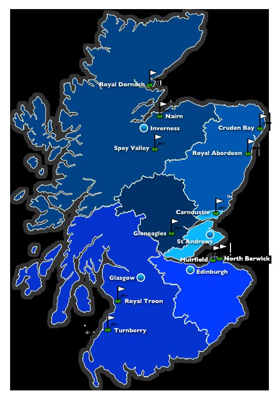Map of Golf Regions in Scotland